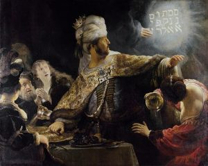Belshazzar's feast by Rembrandt, 1634 to 1639, biblical story origin of idiom writing on the wall