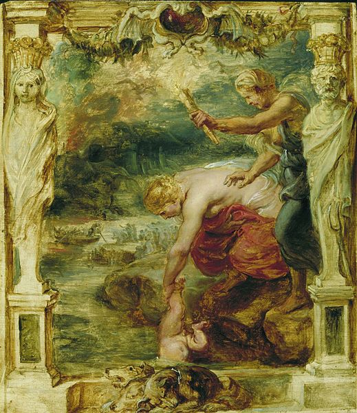 Thetis dipping Achilles into the River Styx, creating achilles heel