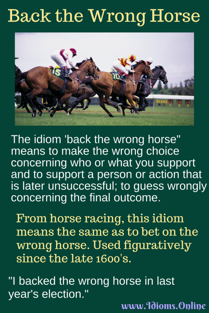 Back the wrong horse idiom