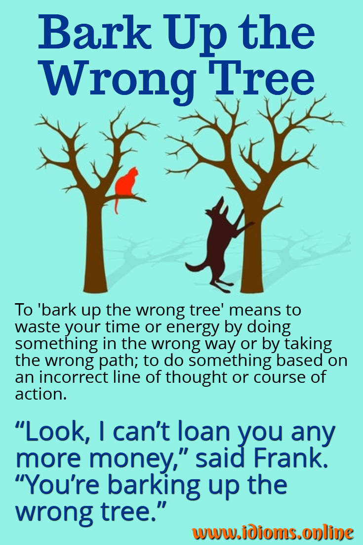 Bark up the wrong tree idiom meaning