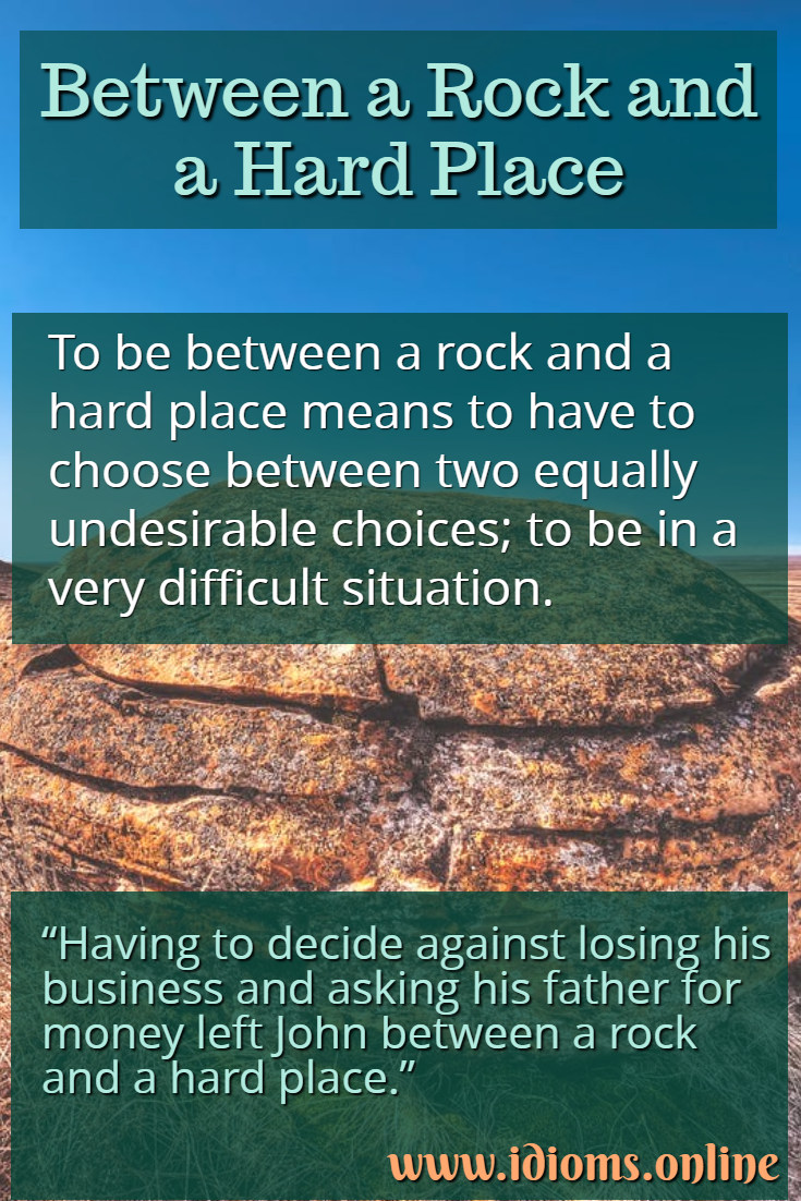 Between a rock and a hard place idiom meaning