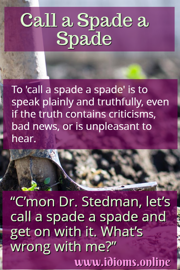 Call a spade a spade idiom meaning