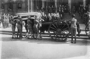 casket draped in flag