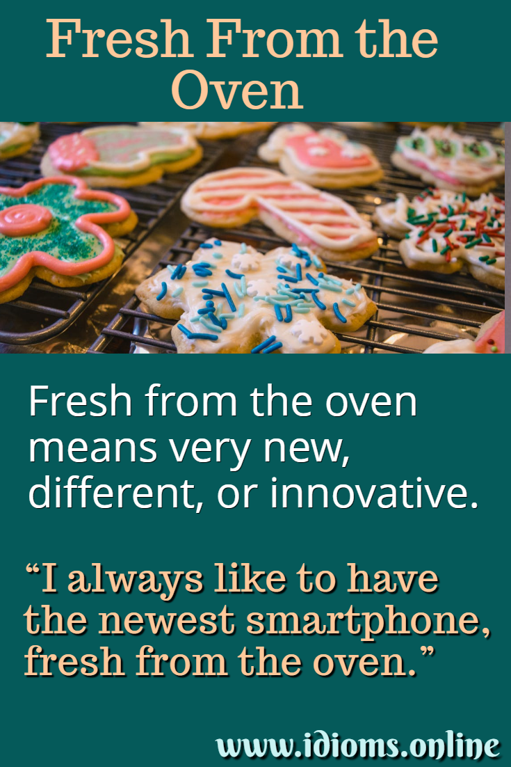 Meaning of idiom fresh from the oven