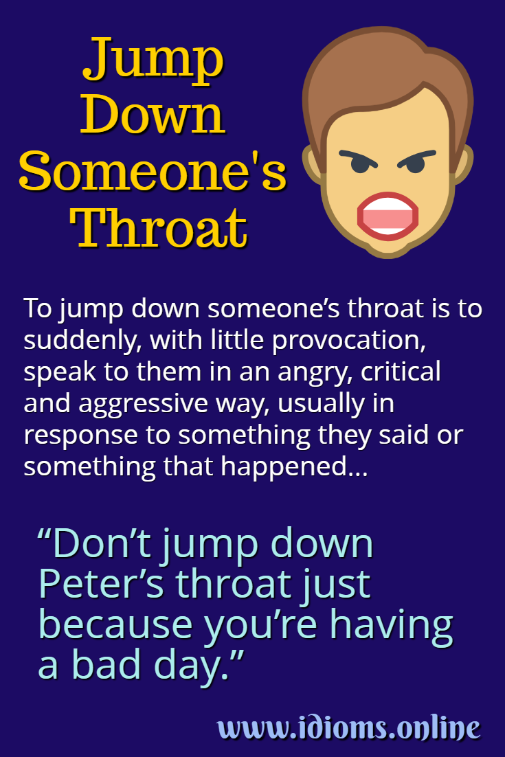 Jump down someone's throat idiom meaning