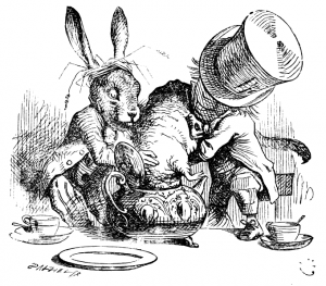 March Hare and Mad Hatter in Tea Party scene, Through the Looking Glass
