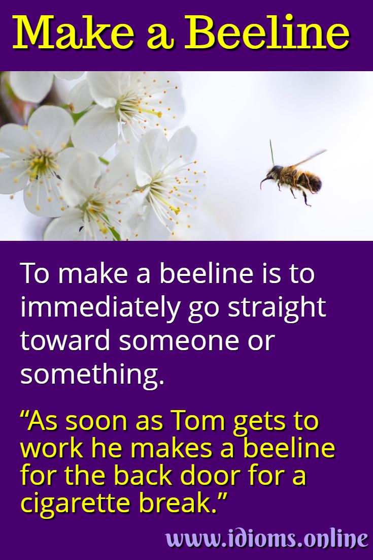 Make a beeline idiom meaning