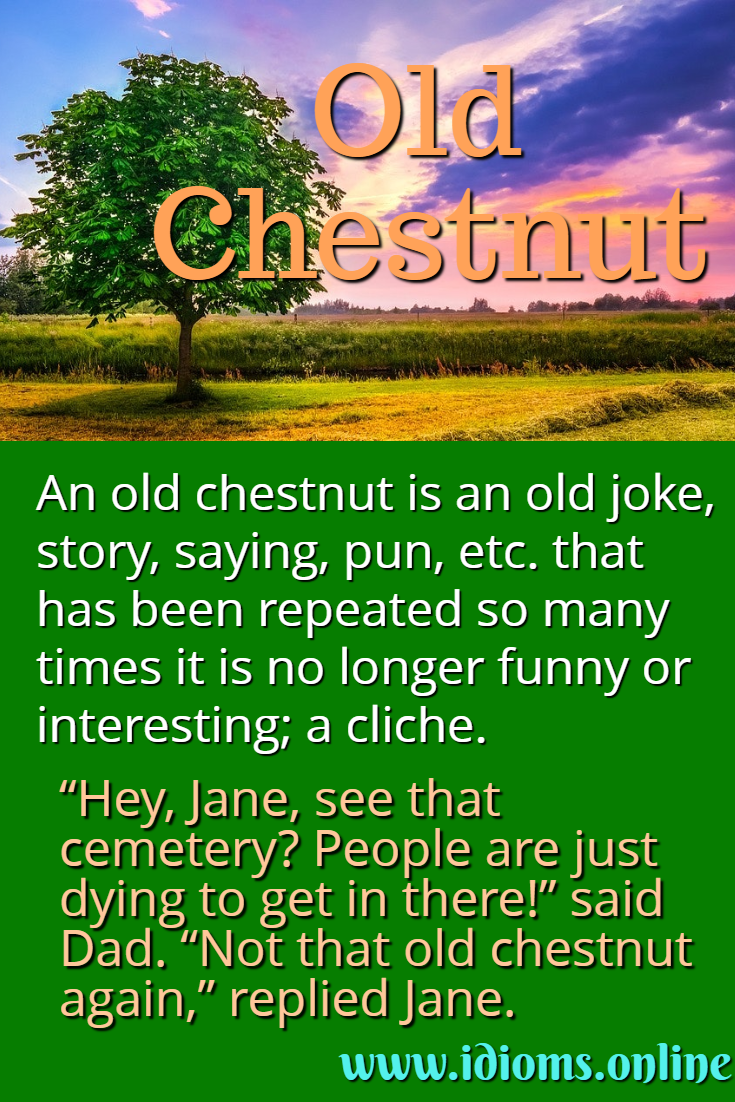 Old chestnut idiom meaning