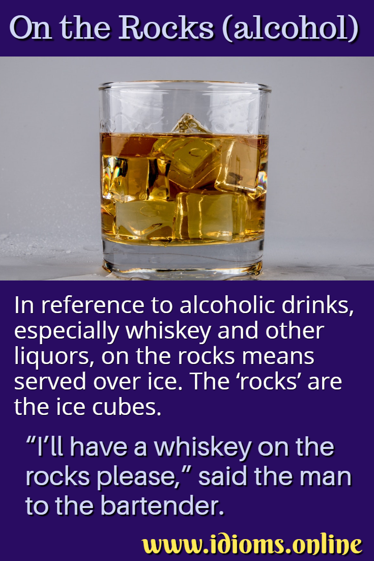 Meaning of alcohol (whiskey, liquor) on the rocks idiom