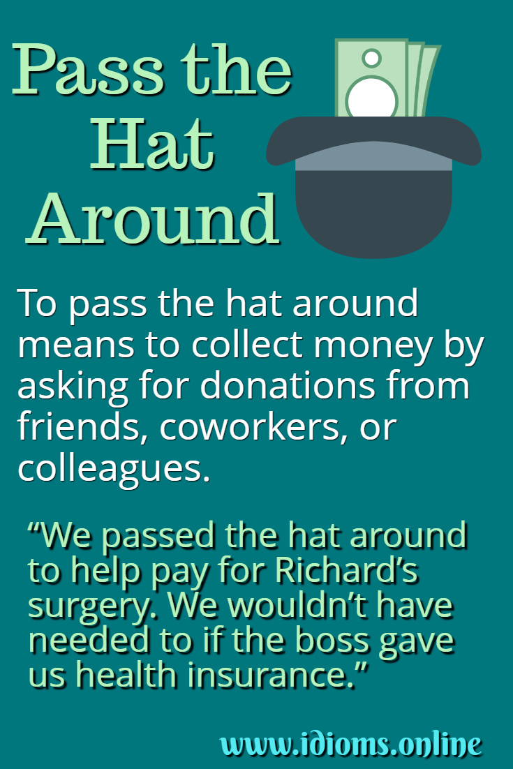 Pass the hat around idiom meaning