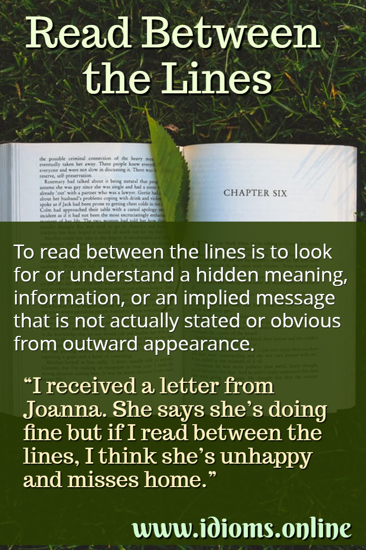Read between the lines idiom meaning
