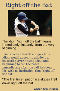 right off the bat idiom meaning