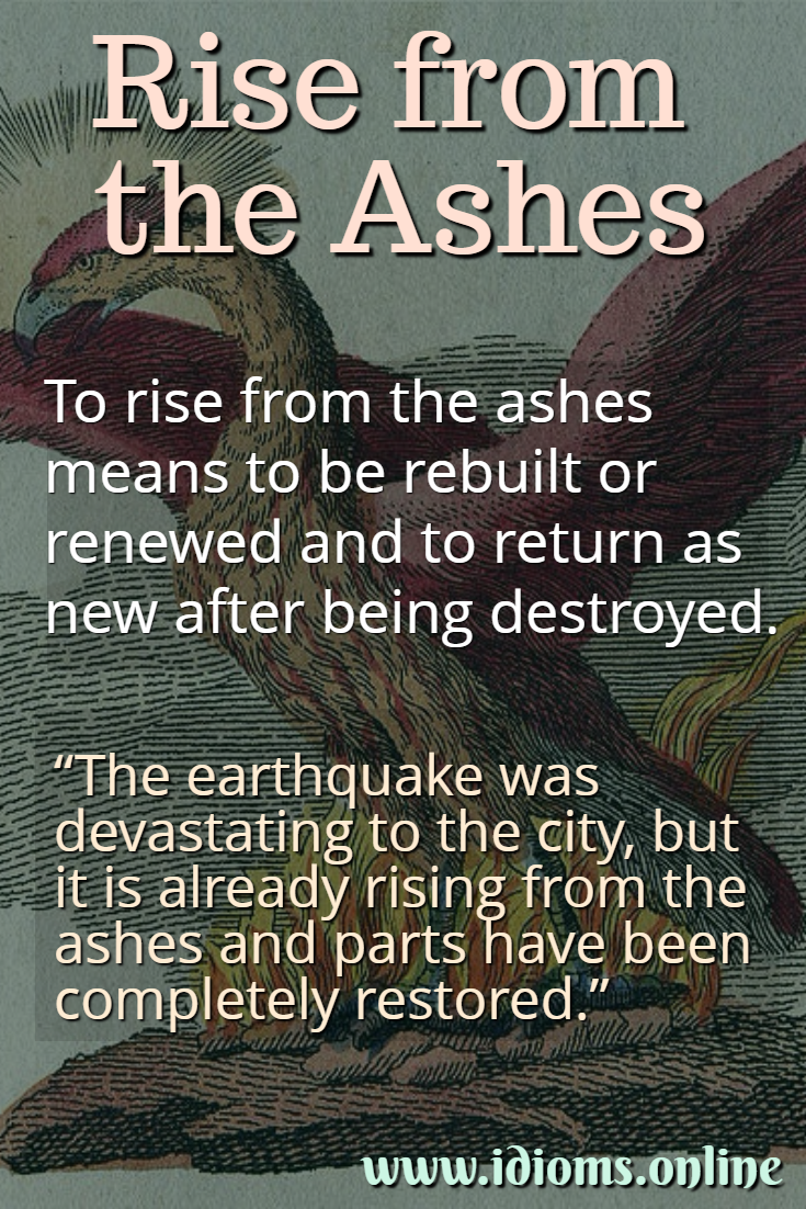 Rise from the ashes idiom meaning