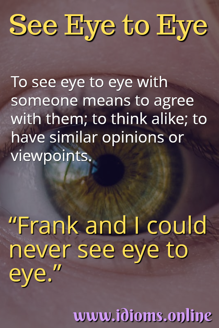 See eye to eye idiom meaning