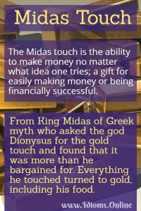 the Midas touch idiom meaning and origin
