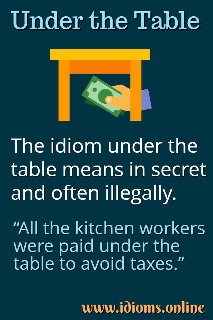 Under the table idiom meaning