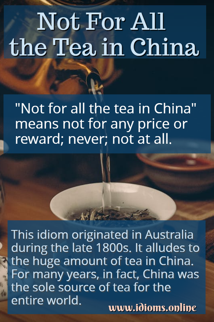 Not for all the tea in China idiom meaning